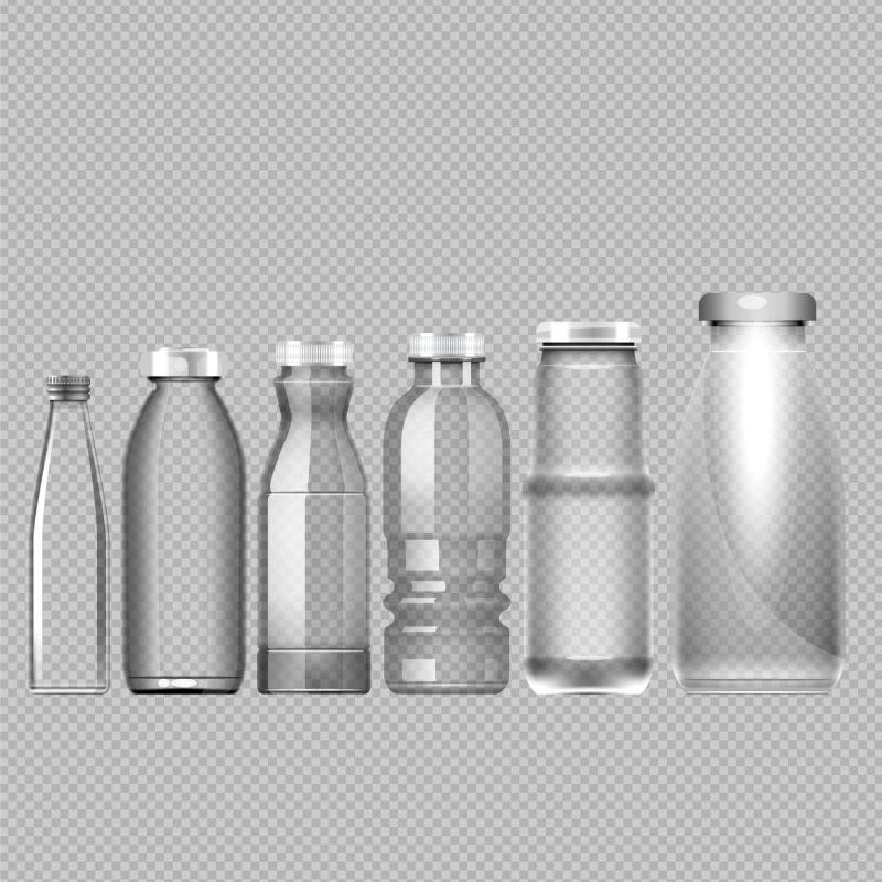 矢量各式透明瓶子设计