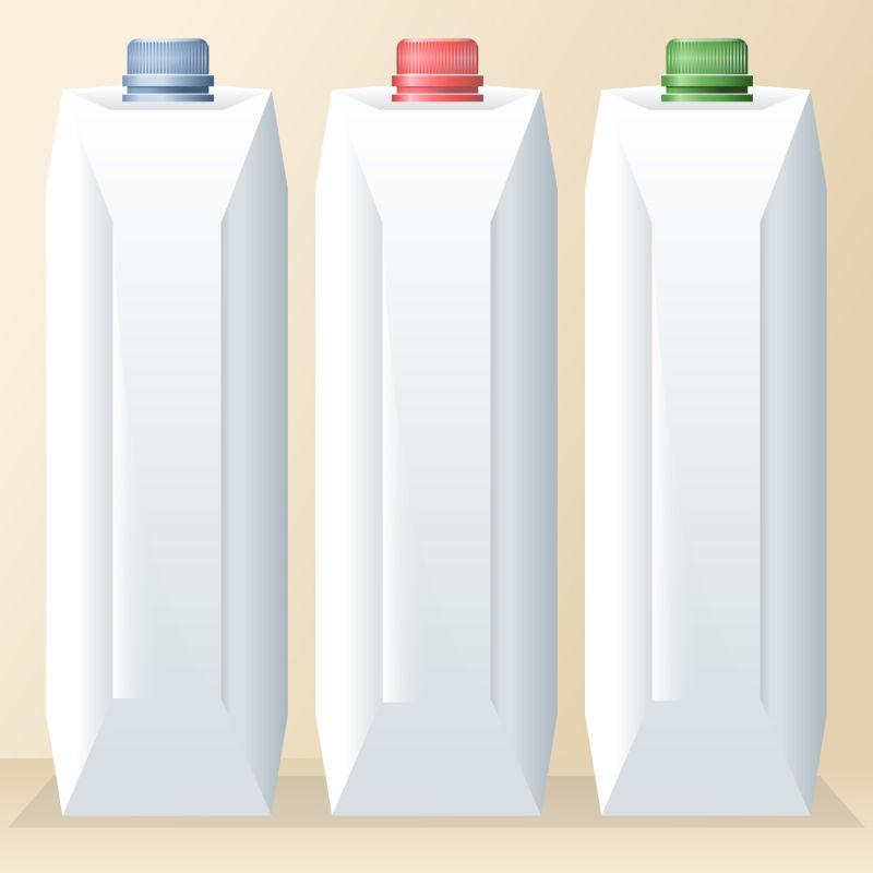 矢量牛奶包装瓶设计