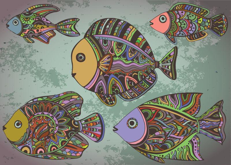 装饰性观赏鱼的彩色背景