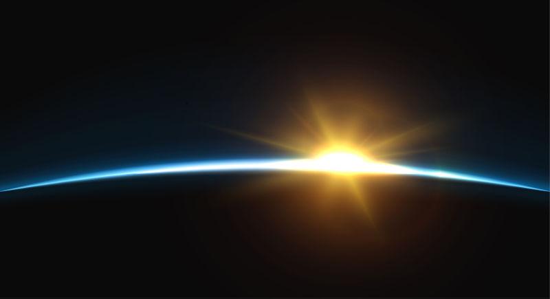 矢量的地球日出插图