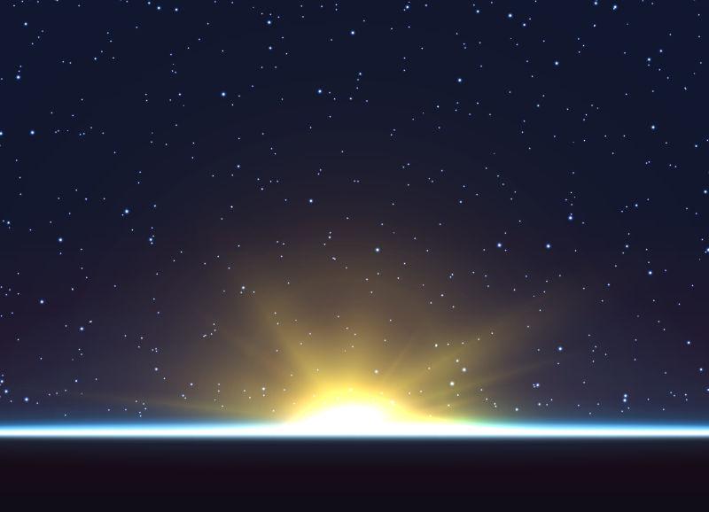 地球日出矢量插图