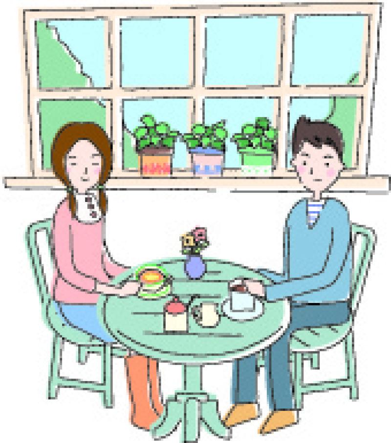 在屋内吃早餐的幸福平静的生活矢量插图