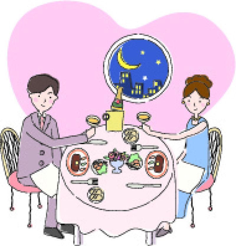 在夜晚共进晚餐的情侣矢量插图
