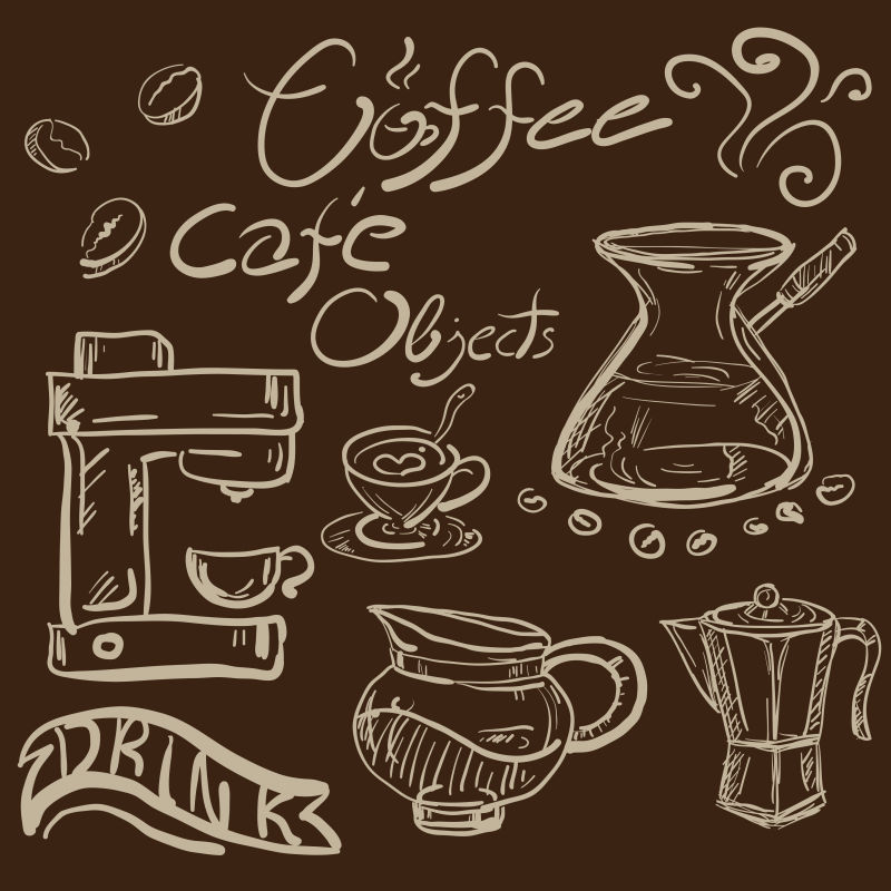 矢量手绘咖啡对象