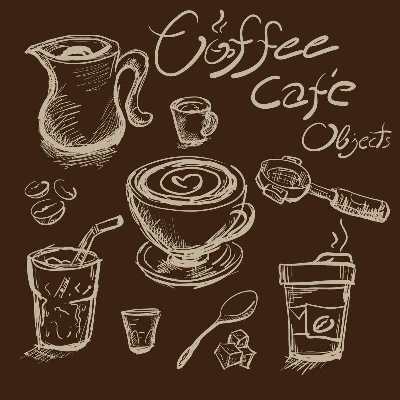 矢量手绘绘制咖啡对象