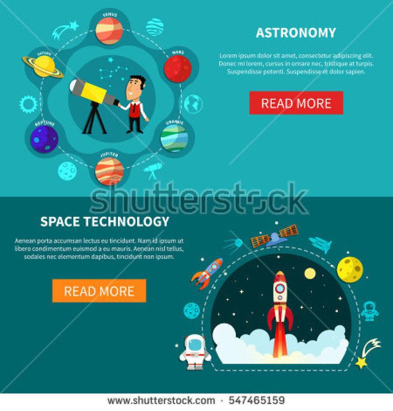 天文学平面横幅矢量设计