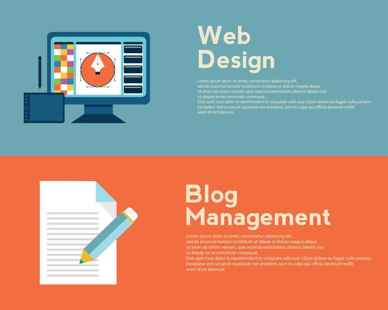 矢量平面设计概念为网页设计