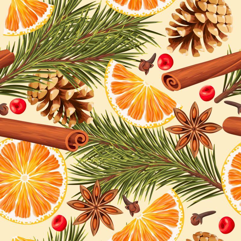 橙子片和肉桂八角香料矢量背景