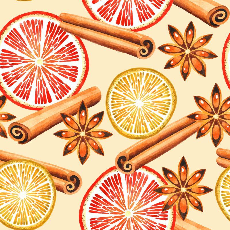 橙子片与肉桂矢量水果香料背景