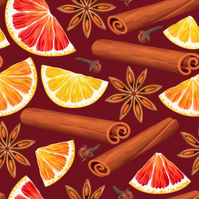 橙子片和肉桂八角等香料矢量背景