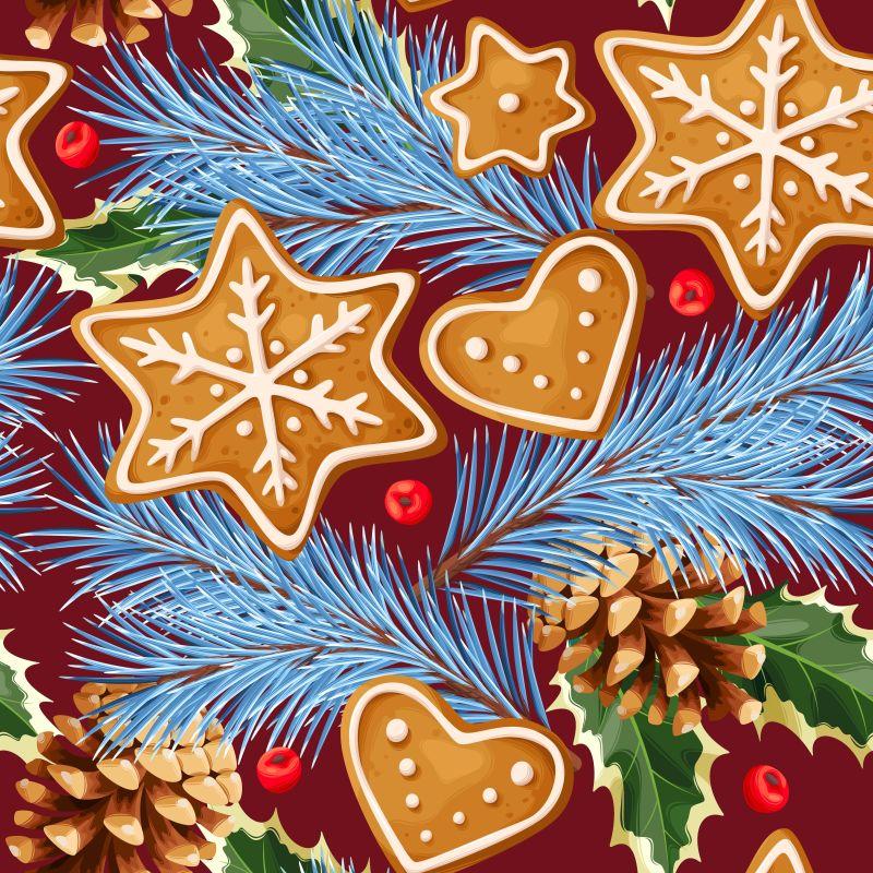 圣诞节姜饼和松果松树枝矢量水果香料背景