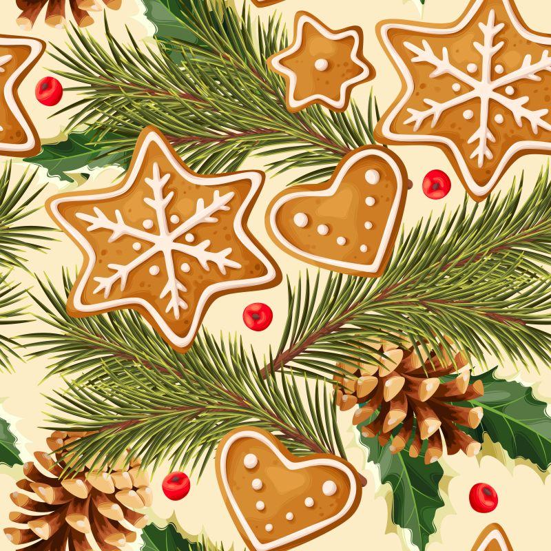 圣诞节姜饼和松果矢量水果香料背景