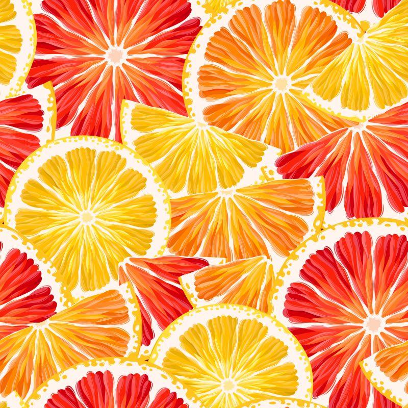黄色和红色的柑桔片矢量背景