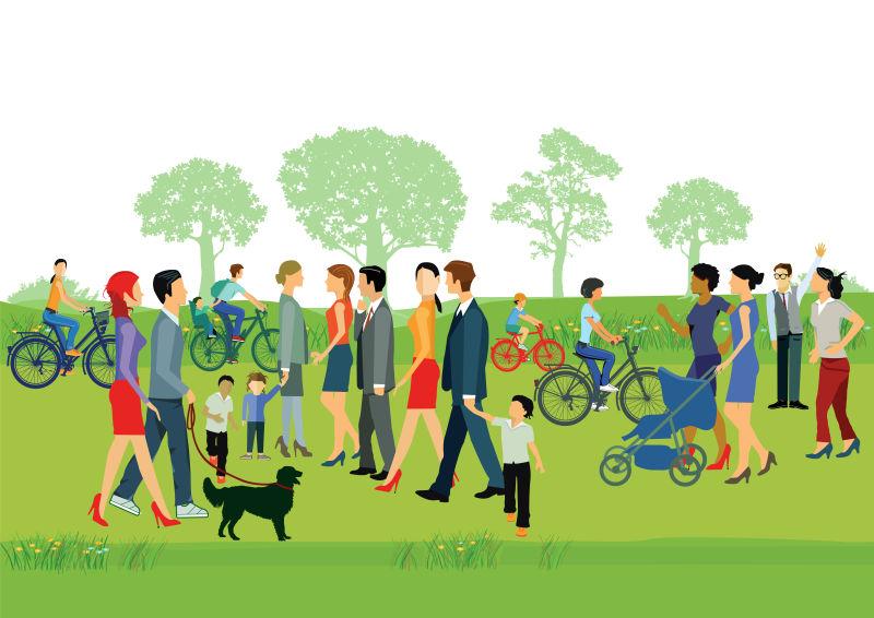 公园里的散步人物矢量插图