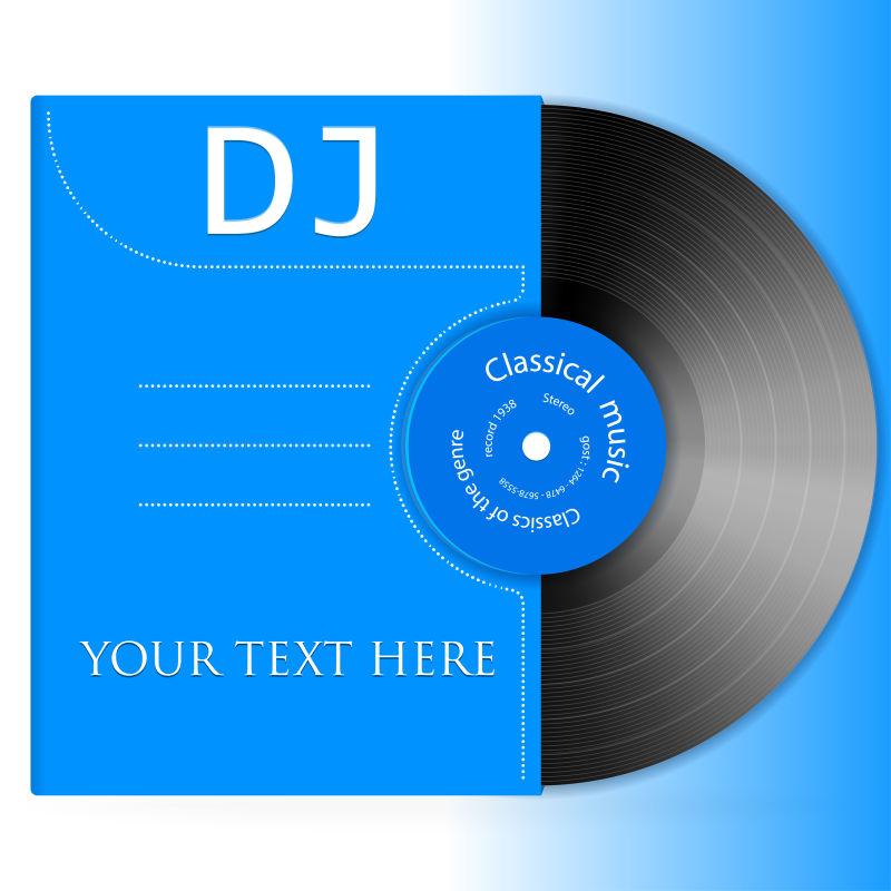 矢量蓝色背景的黑胶唱片