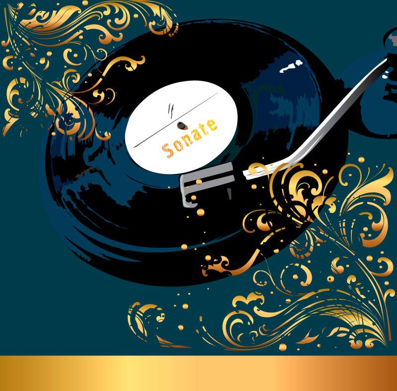 矢量有金色叶子的黑色音乐磁盘海报背景