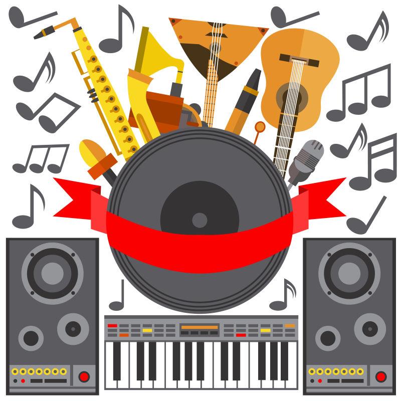扁平乐器的矢量音乐海报
