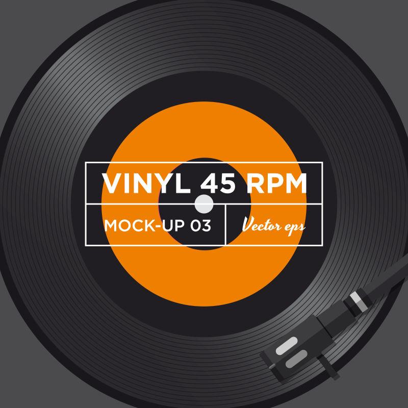 矢量老式单曲黑胶唱片