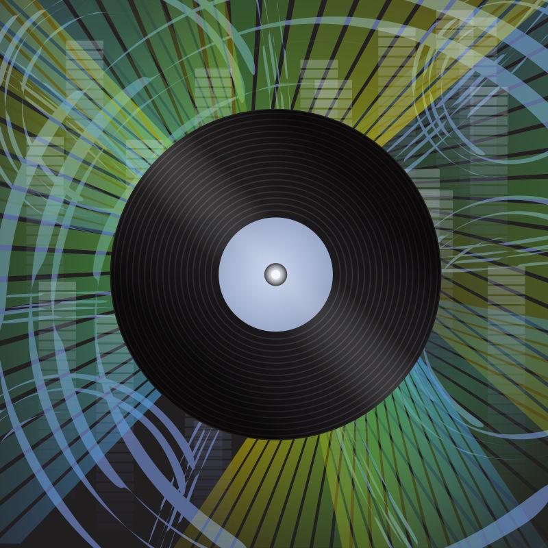 矢量具有GRUGGE效应背景的黑胶唱片