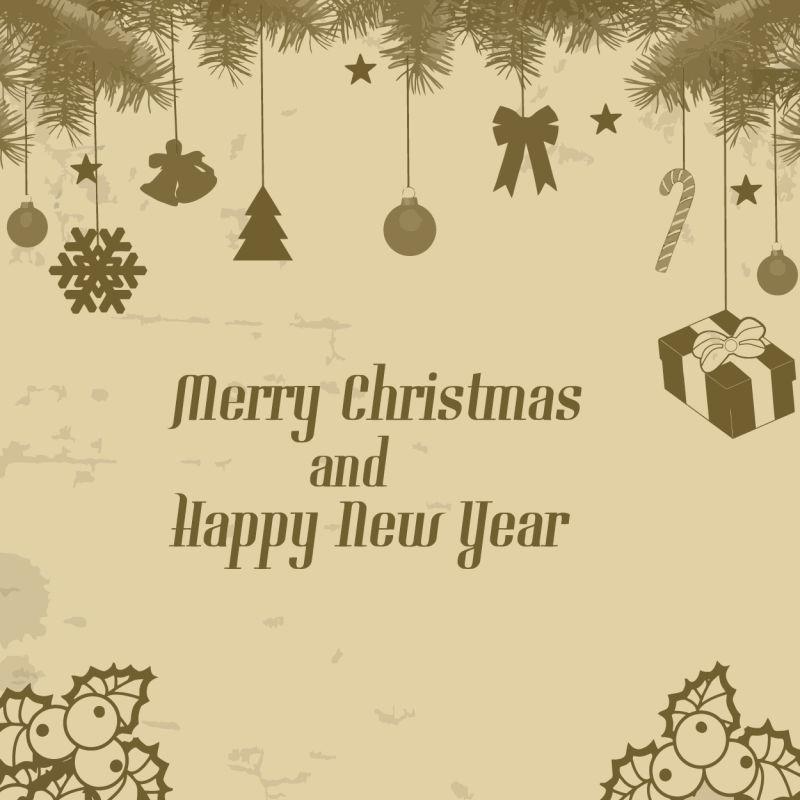 圣诞树上挂着圣诞节装饰品的贺卡