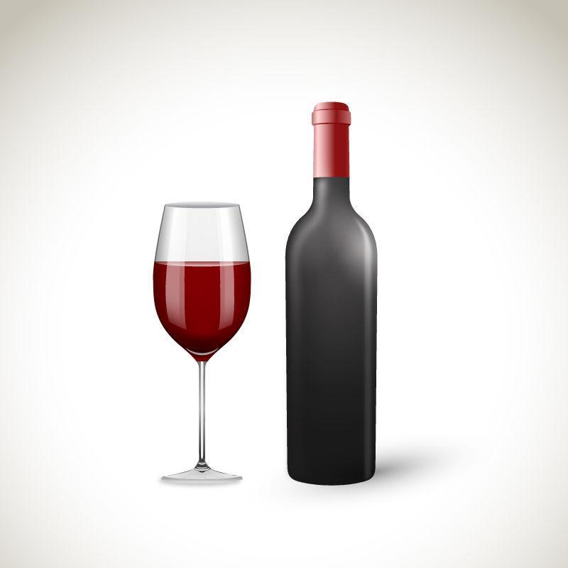 矢量红酒瓶与酒杯