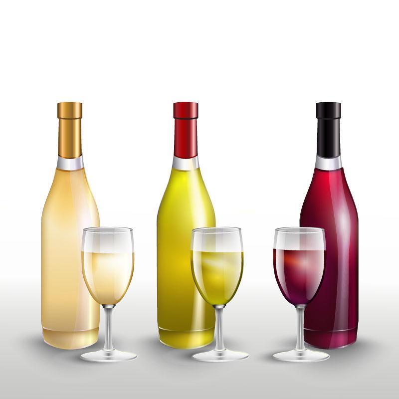 三种不同颜色的矢量酒瓶与酒杯