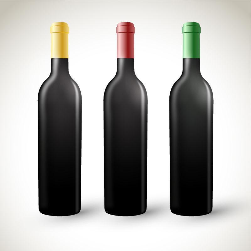 不同颜色的矢量酒瓶