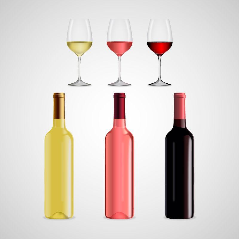 不同颜色的矢量酒瓶与酒杯