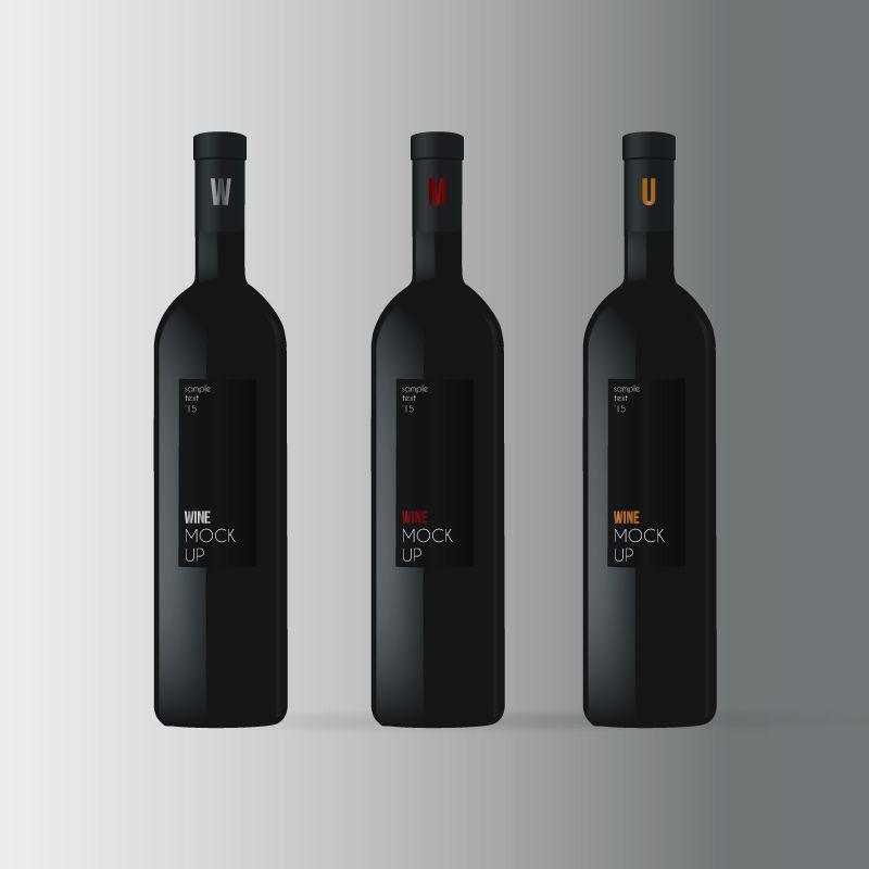 矢量葡萄酒瓶与酒杯