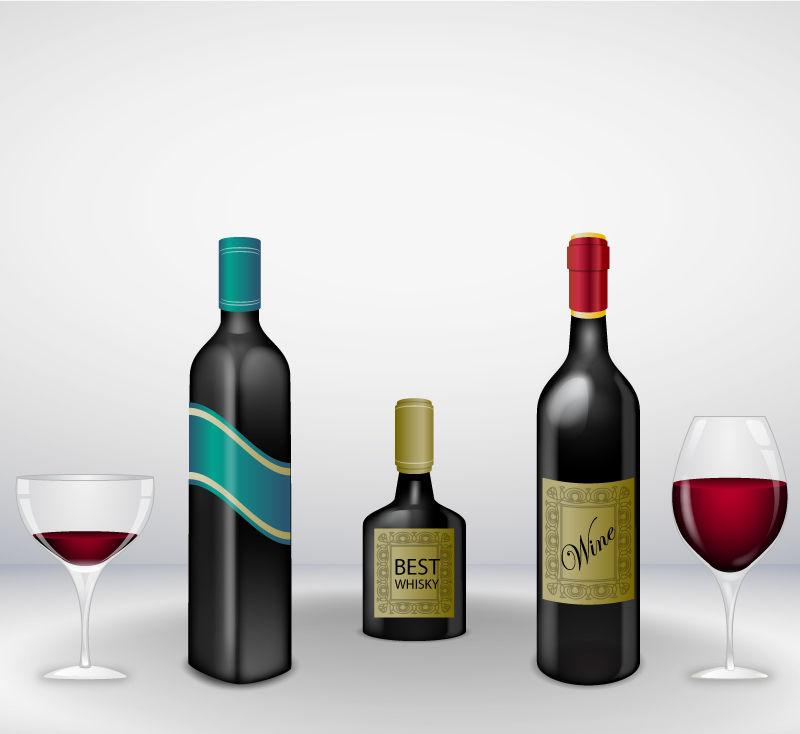 不同种类的矢量酒瓶与酒杯