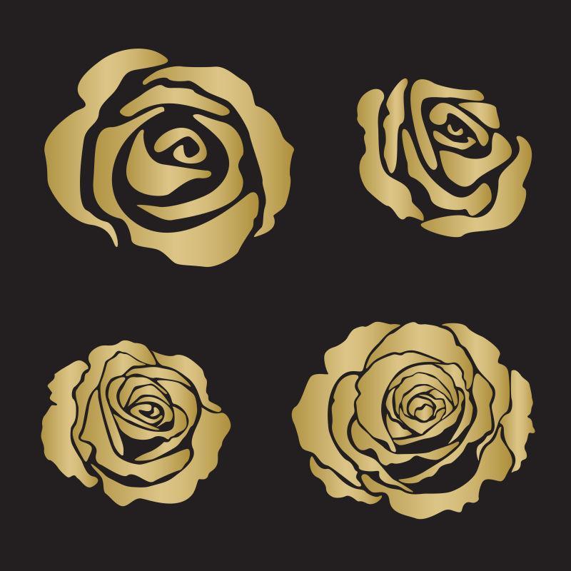 剪影玫瑰开花矢量