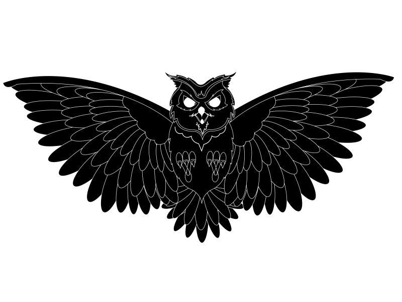 矢量黑色装饰风格的猫头鹰设计