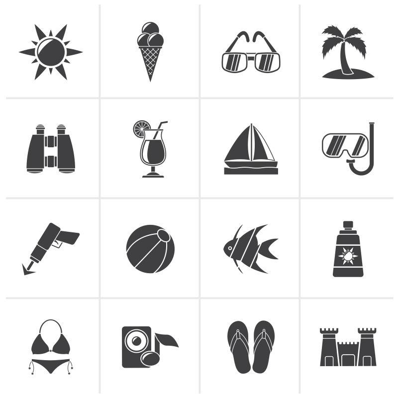 海滩概念的矢量创意平面图标设计
