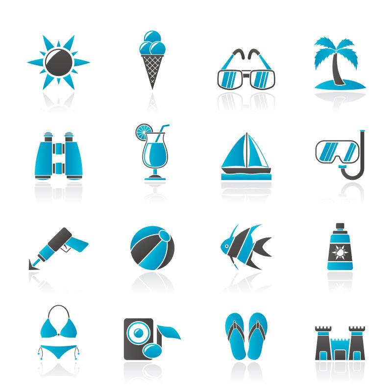 抽象矢量蓝色夏日度假主题图标设计