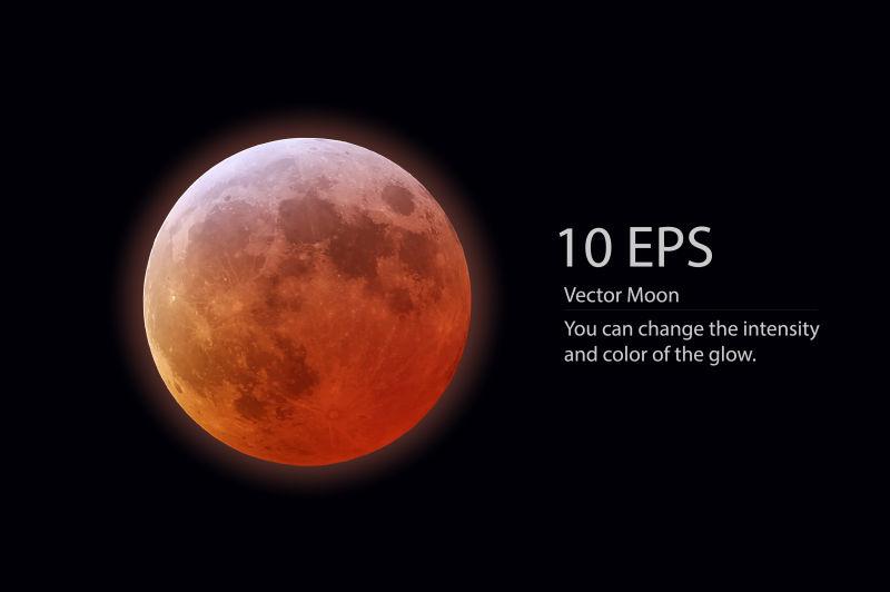 矢量的红色月亮
