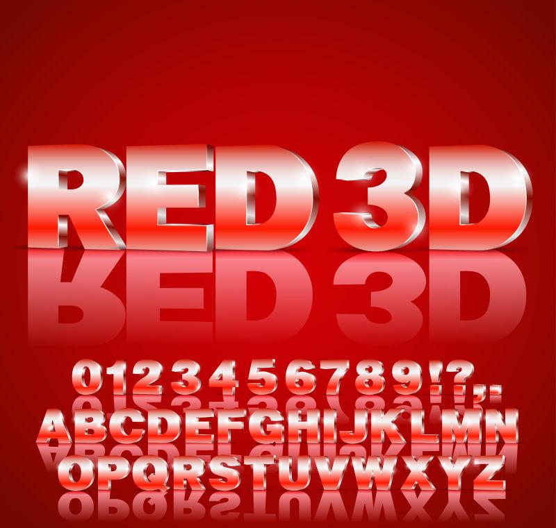 带字母和数字的3D字体矢量