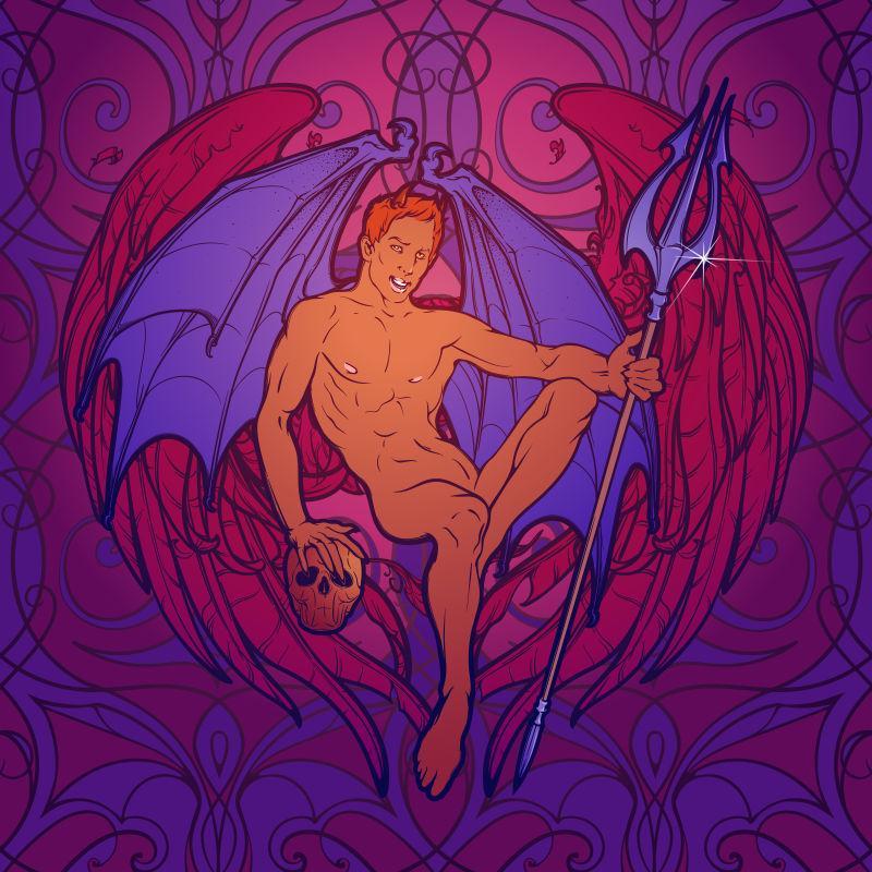年轻的性感恶魔用蝙蝠翅膀坐着