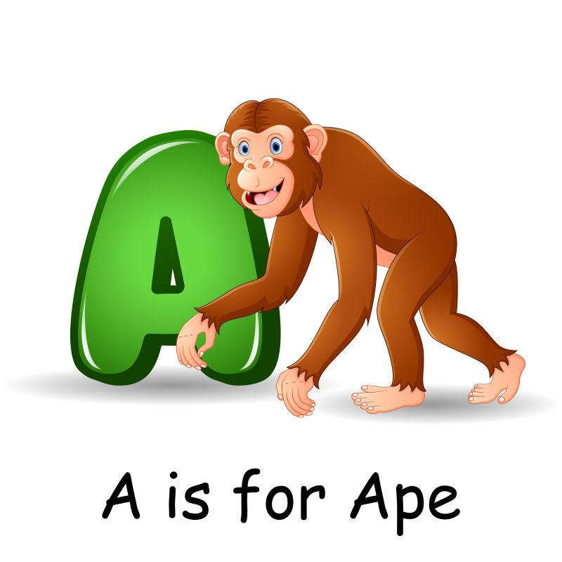 动物字母表A是猿矢量