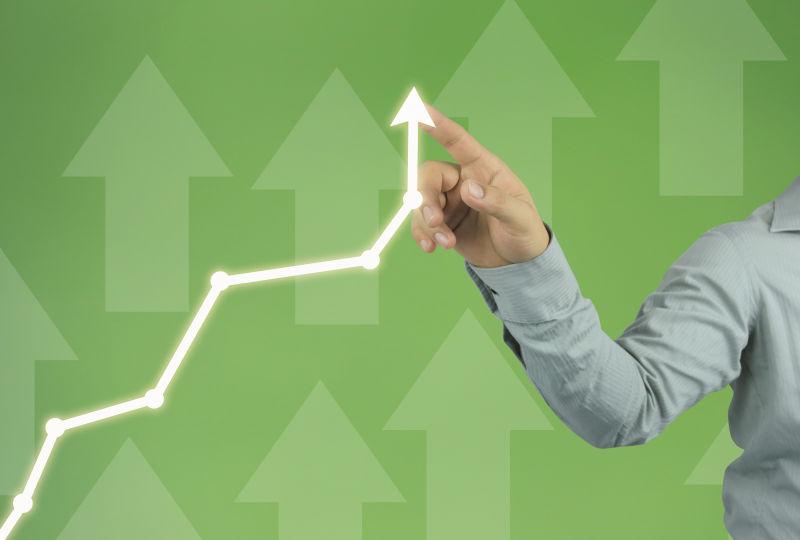 商业箭头绿色向上的概念