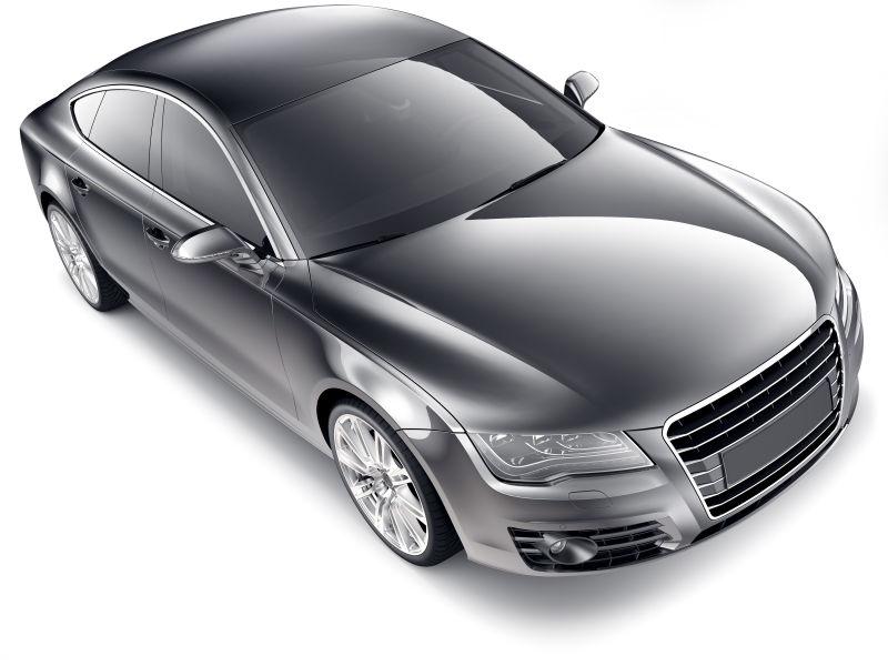白色背景上的黑色汽车