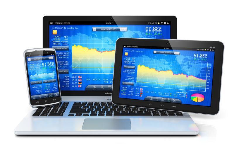 白色背景的具有反射效果的股票市场应用软件