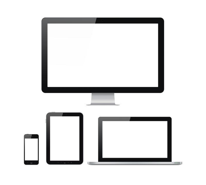 白色背景隔离的现代计算机与移动设备