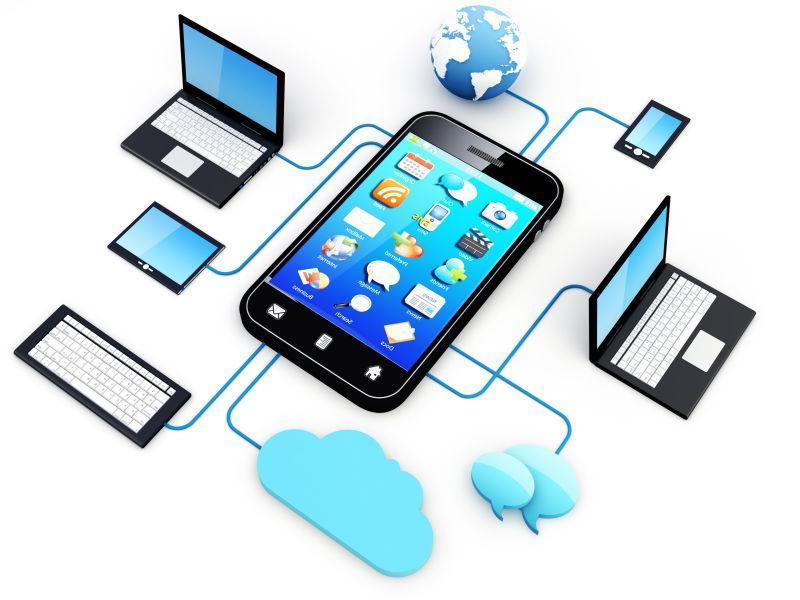 连接到云服务器的智能手机和家用电子设备