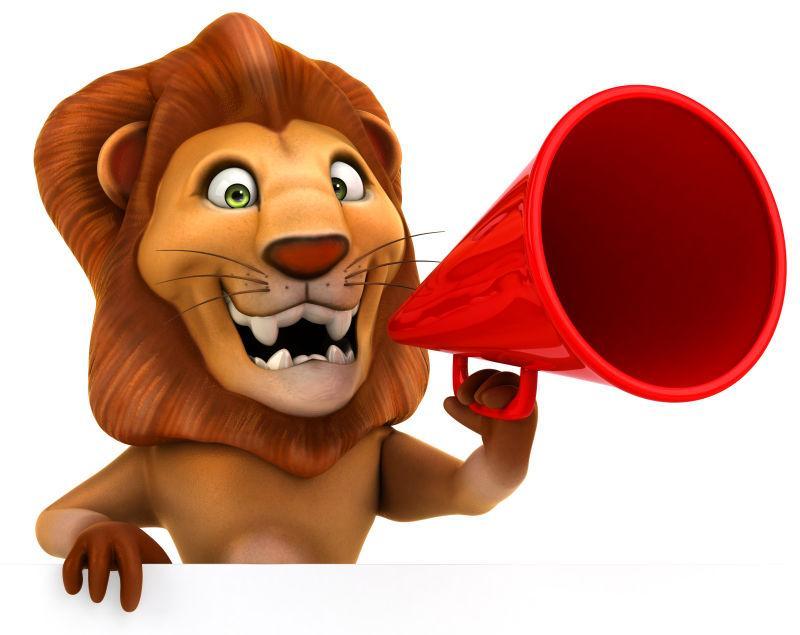 拿着喇叭的卡通狮子