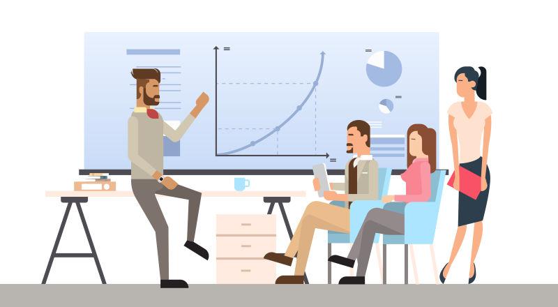 商务人士的商业会议培训矢量图