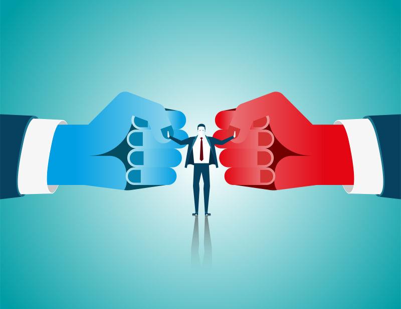 矢量商人调解律师与两个拳头手套对抗对手作为仲裁成功