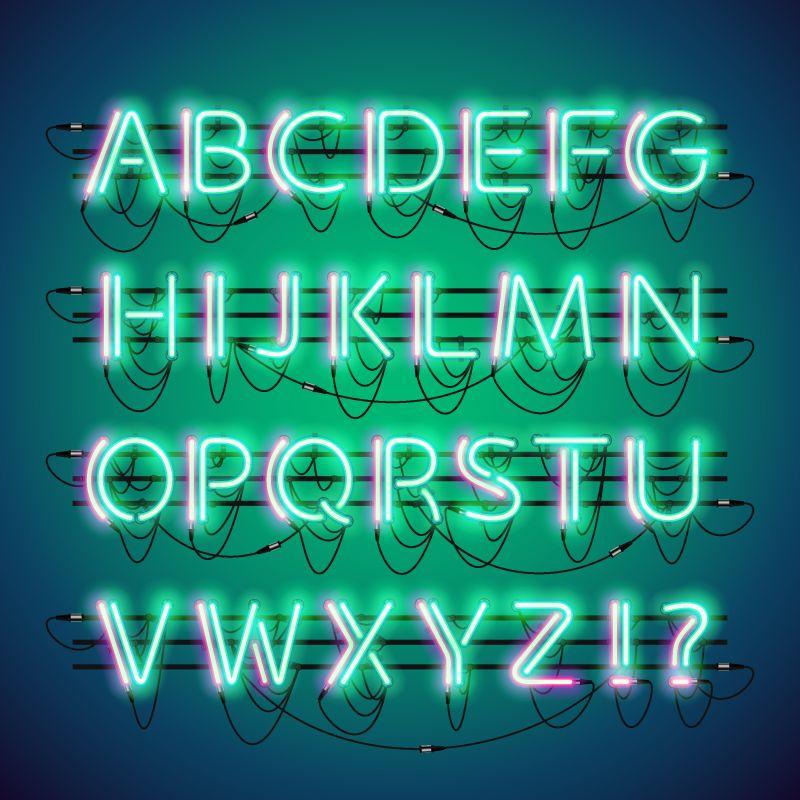 矢量绿色荧光霓虹灯字母设计