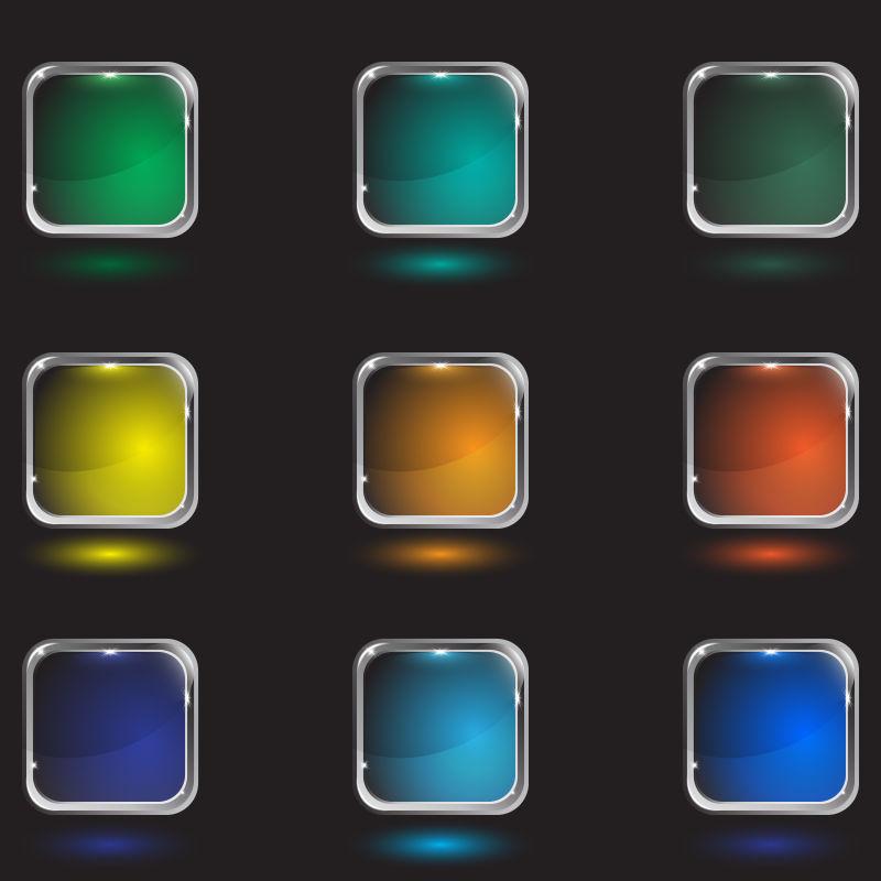 创意矢量彩色玻璃方形按钮设计