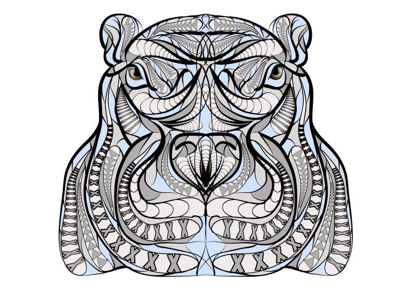 矢量彩色河马头图案设计