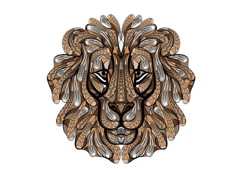 矢量彩色狮子图案设计